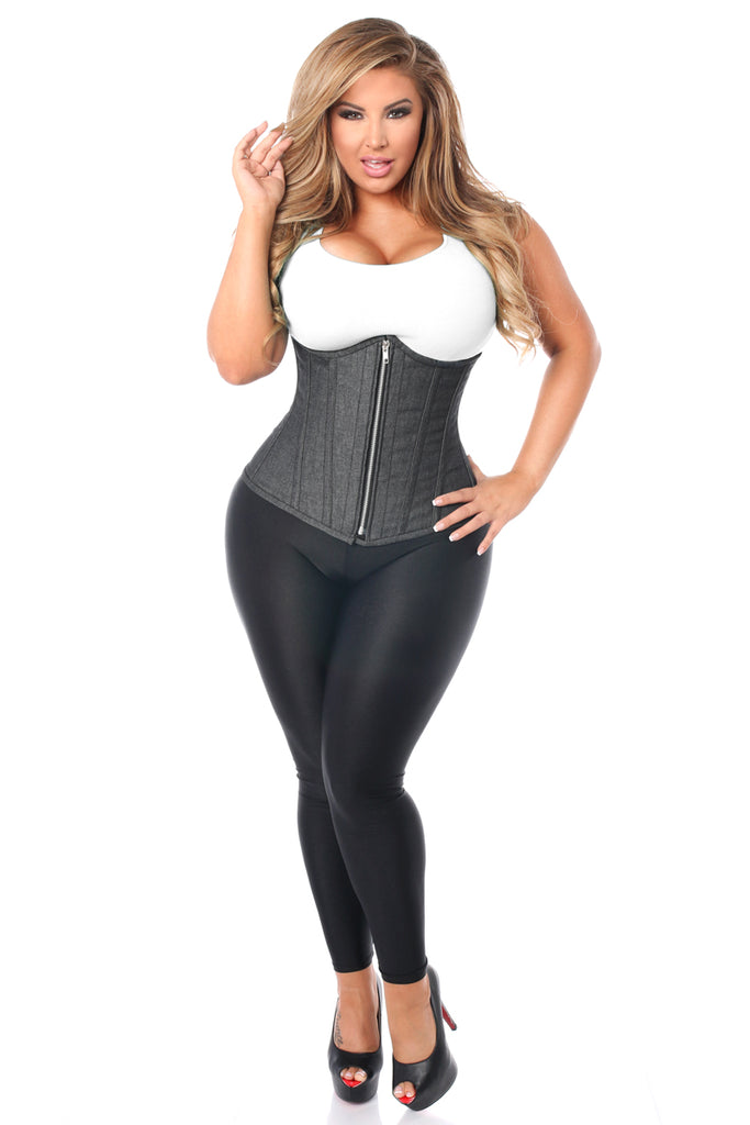 Top Drawer Denim Black Steel Boned Underbust Corset w/Zipper - My Luxury Intimates