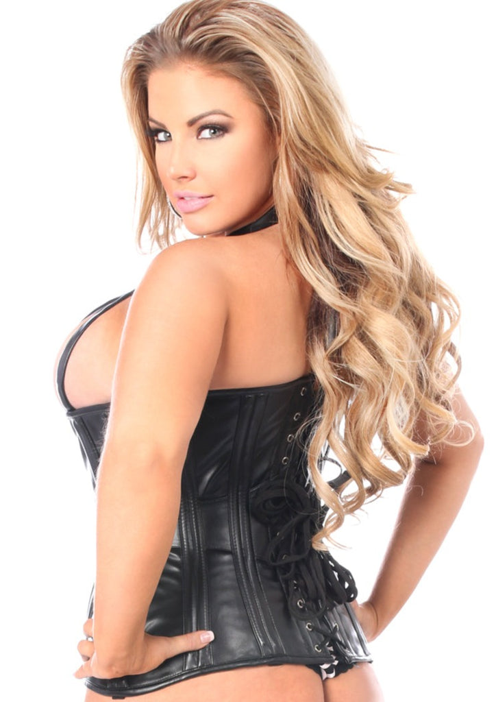 Faux Leather Halter Top Style Corset in Plus Sizes - My Luxury Intimates