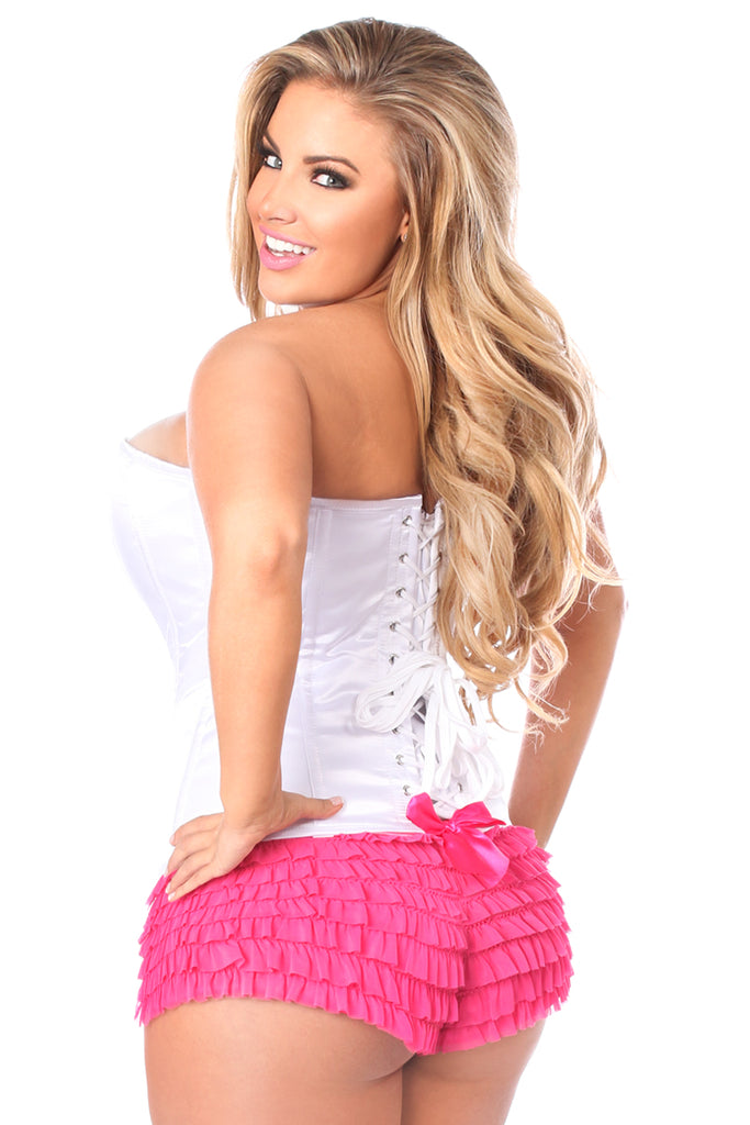 Plus Size White Satin Overbust Corset with Zipper Front - My Luxury Intimates
