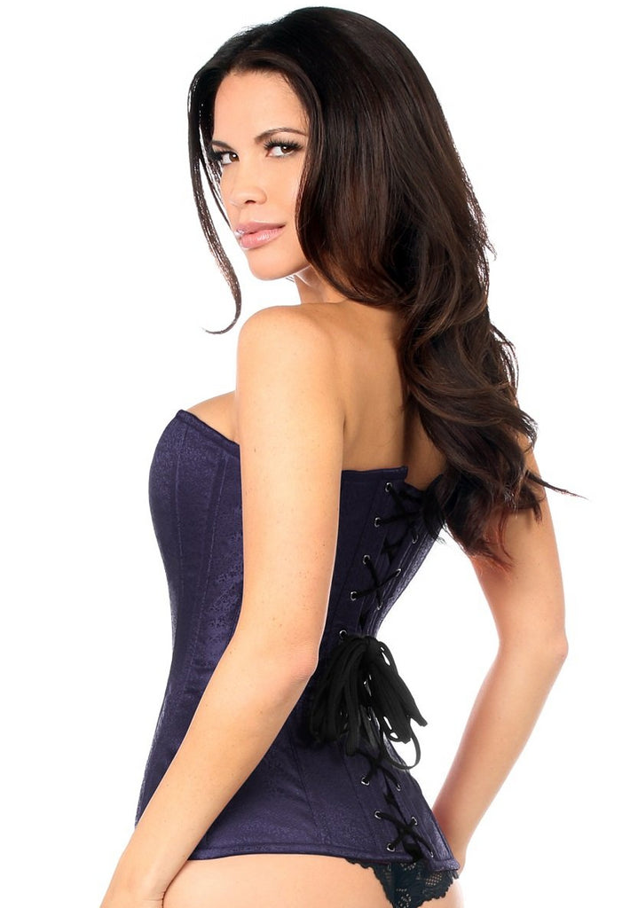 Top Drawer Navy Blue Brocade Steel Boned Overbust Corset - My Luxury Intimates