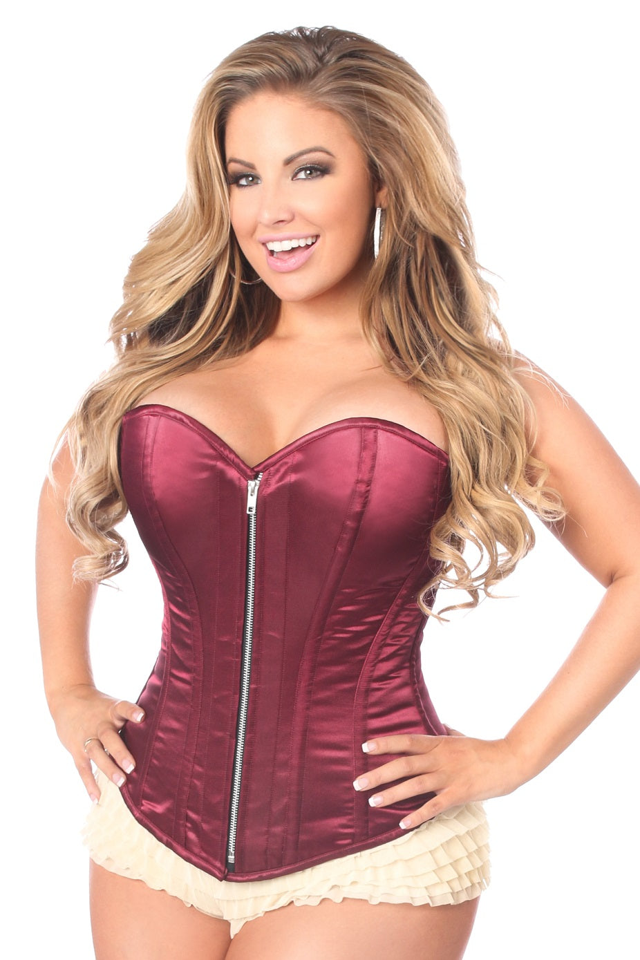 Top Drawer Satin Bordeaux Over Bust Corset