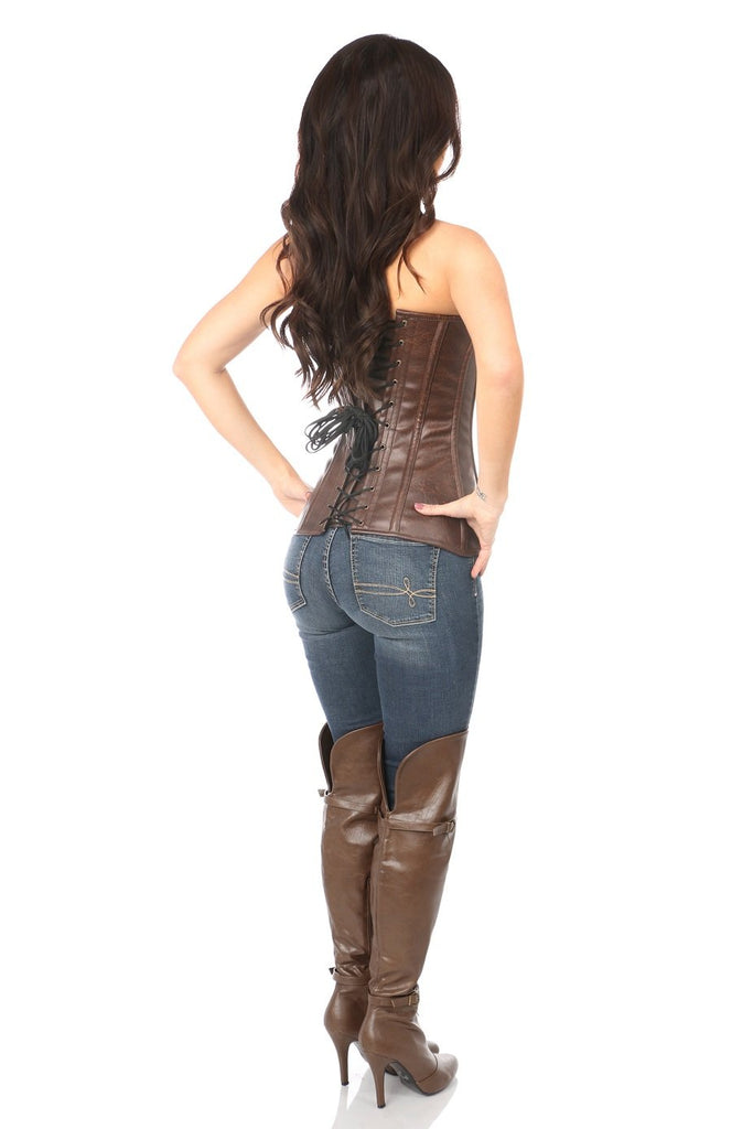 Top Drawer Distressed Brown Faux Leather Steel Boned Corset - My Luxury Intimates
