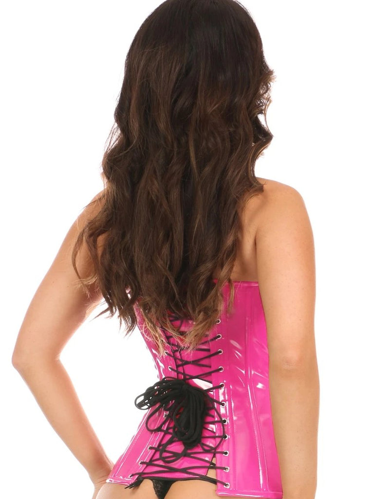 Top Drawer Hot Pink Patent PVC Steel Boned Over Bust Corset - My Luxury Intimates