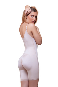 Jiselle Mid Thigh Full Body Underbust Bodysuit with Front Zipper