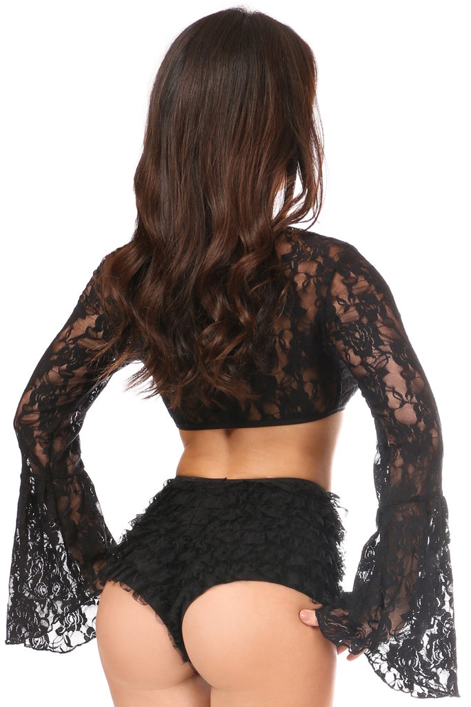 Stretch Lace Crop Top with Bell Sleeves ~ Plus Sizes Too - My Luxury Intimates