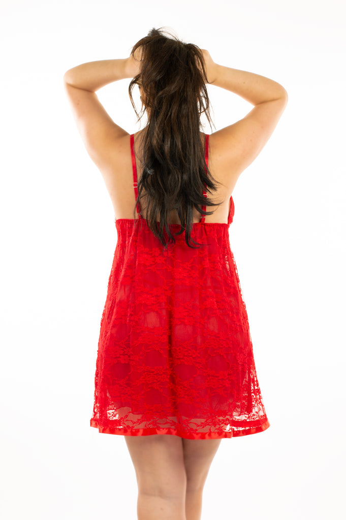 Red  Double Layer Lace Babydoll with Thong Set - My Luxury Intimates