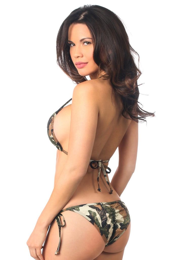Glitter Camo Print Pucker Bikini Set - My Luxury Intimates