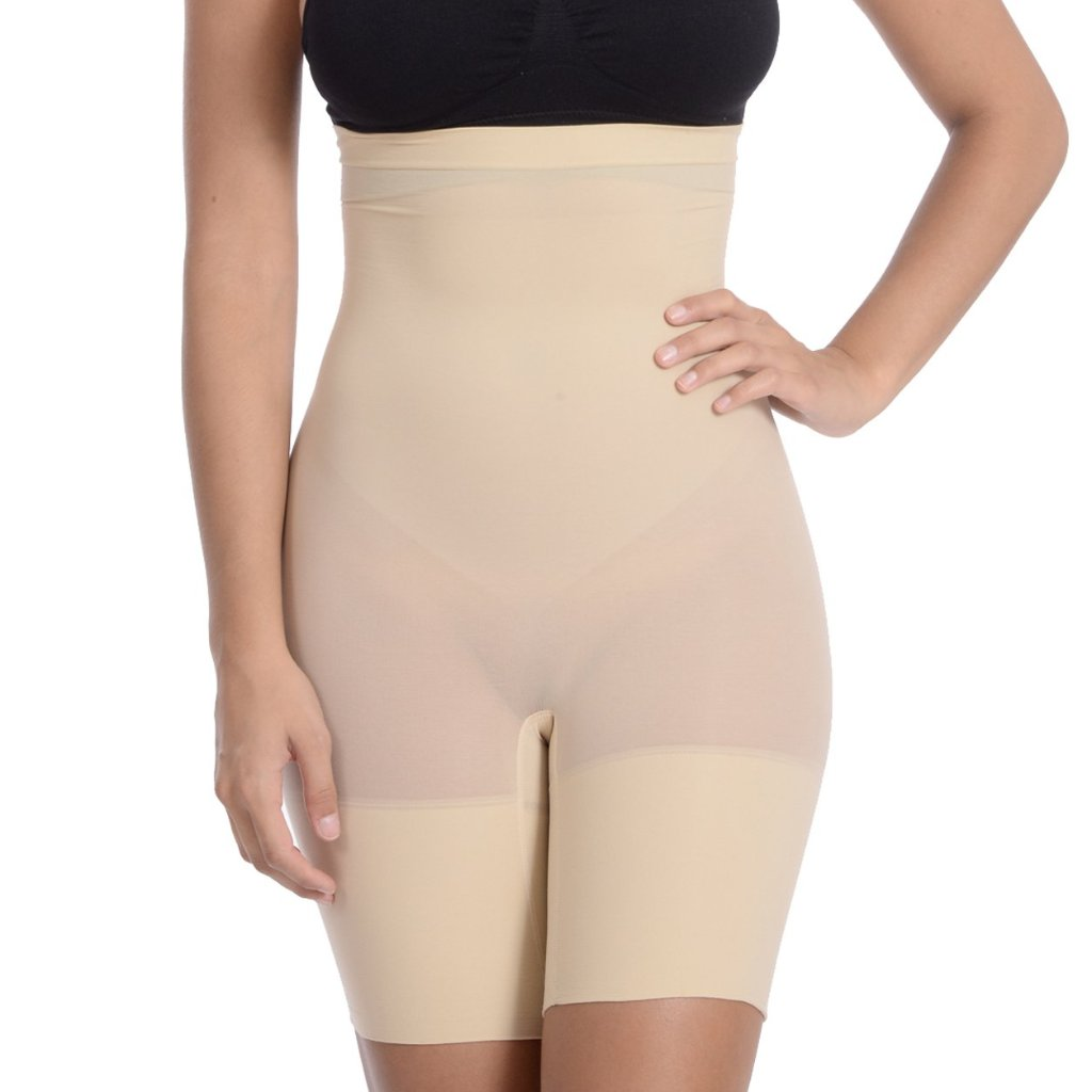 Hi Waist Shaper With Extra Long Boy Leg Nude Girdle - My Luxury Intimates