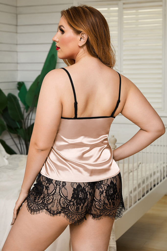 Lace Tank Top & Short With Thong Plus Size Lingerie Set - My Luxury Intimates