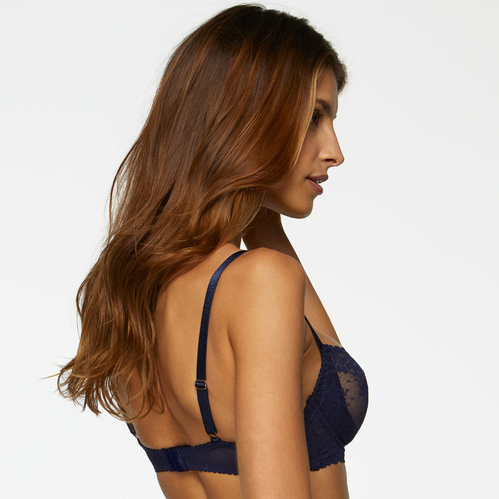 Sensual Sheer Lace Demi Cup Bra Kinga Magic Blue - My Luxury Intimates