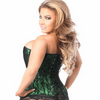 Lavish Green Lace Front Zipper Overbust Corset - My Luxury Intimates