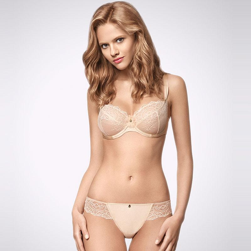 Ajour Champagne Beige 3-Part Cup Sheer Lace Bra - My Luxury Intimates