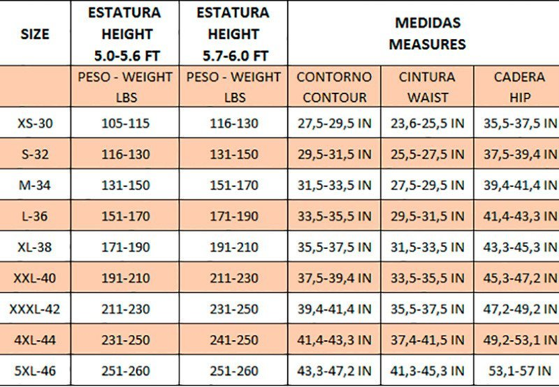 Fajas Reductoras Size Chart