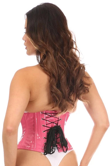 Pink Top Drawer PVC Underbust Steel Boned Corsets - My Luxury Intimates
