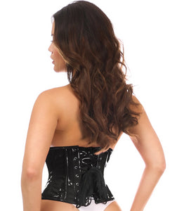 Black Top Drawer PVC Underbust Steel Boned Corsets