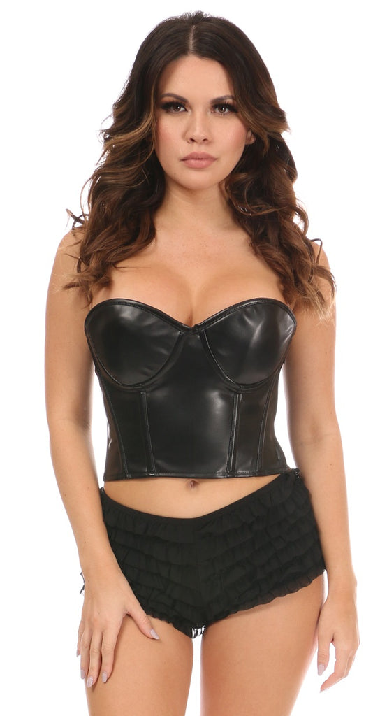 Lavish Faux Leather Underwire Bustier Top - My Luxury Intimates