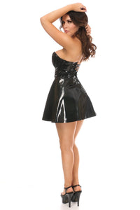 Daisy Corsets Black Patent PVC Bustier and Flared Mini Skirt