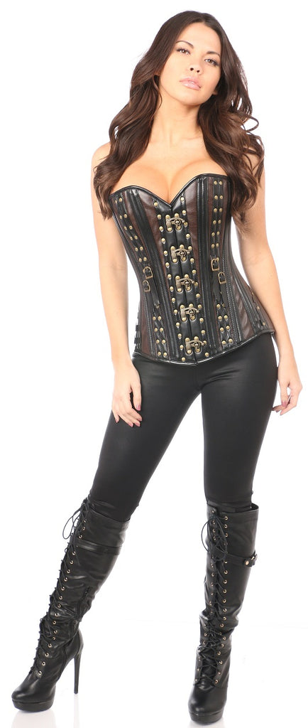 Top Drawer Faux Leather Steel Boned Corset w/Rivets - My Luxury Intimates