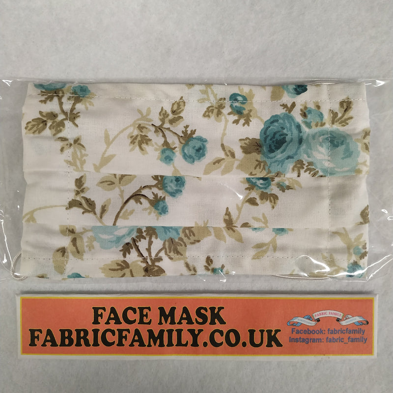 Blue Roses Print Face Mask | 100% Cotton | With Metal Nose Bridge | 1 Layer And 2 Layers