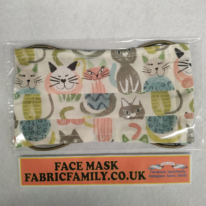 Cats Print Face Mask | 100% Cotton | With Metal Nose Bridge | 1 Layer And 2 Layers