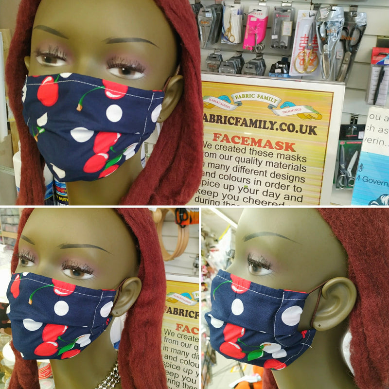 Plain Calico Print Face Mask | 100% Cotton | With Metal Nose Bridge