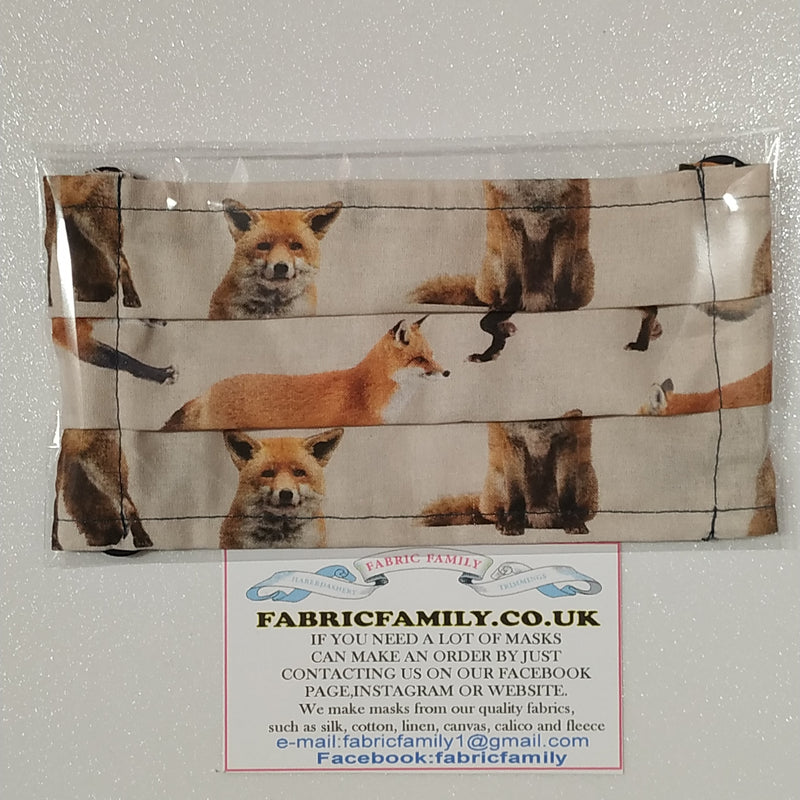 Foxes Print Face Mask | 100% Cotton | With Metal Nose Bridge | 1 Layer And 2 Layers