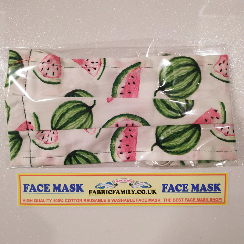 Watermelon Print Face Mask | 100% Cotton | With Metal Nose Bridge