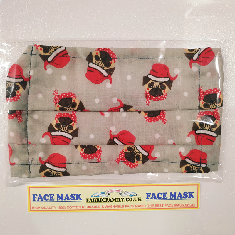 Christmas Dogs Print Face Mask | 100% Cotton | With Metal Nose Bridge