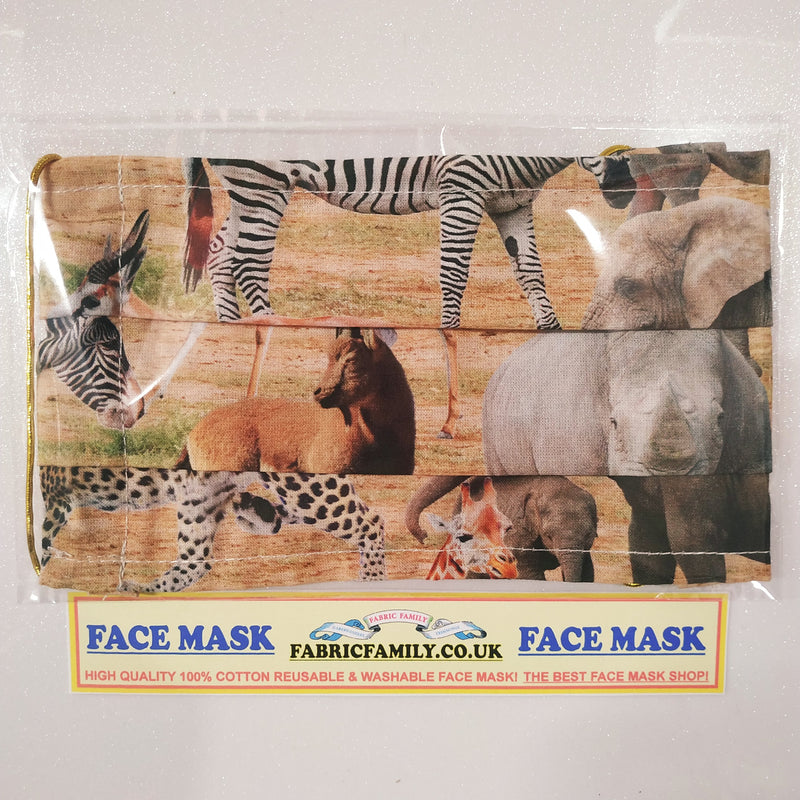Safari Animals Print Face Mask | 100% Cotton | With Metal Nose Bridge