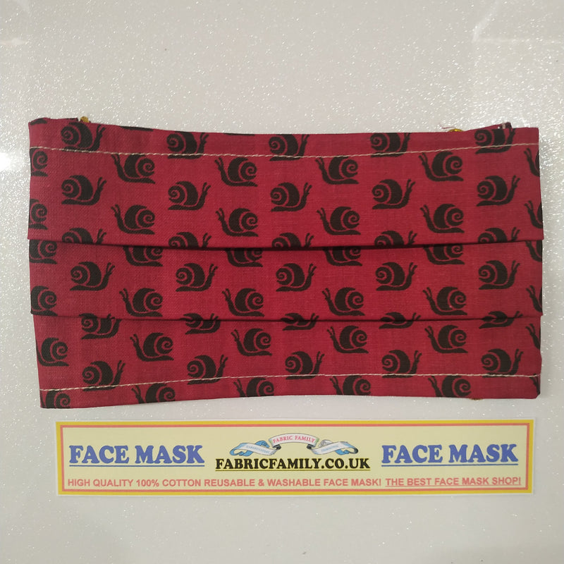 Snails Print Face Mask | 100% Cotton | With Metal Nose Bridge