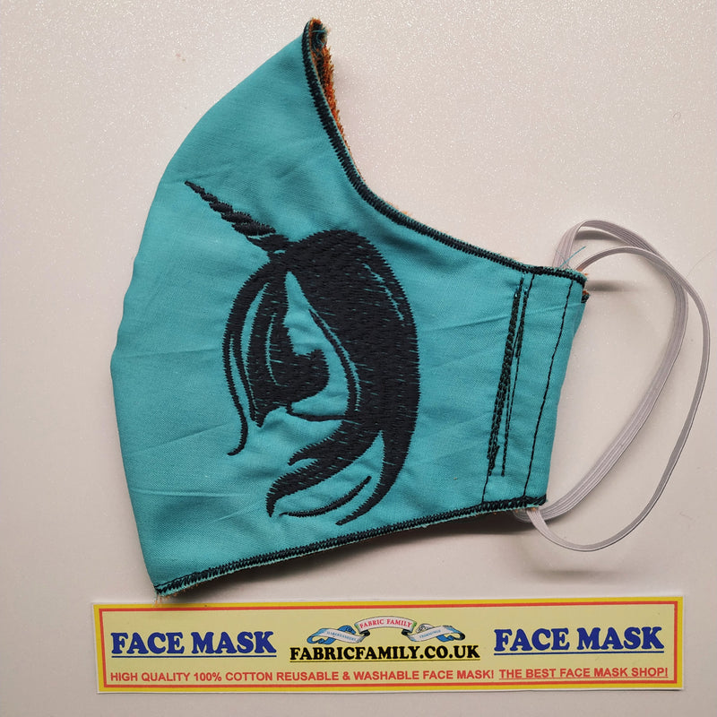 Unicorn Embroidery Print Face Mask | 3 Layers With Filter | 100% Cotton | Perfect Nose To Mouth Fit | Reusable