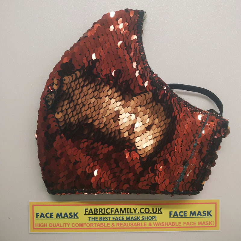 Reversible Sequins Brown and Beige Face Mask | 3 Layers With Filter | 100% Cotton | Perfect Nose To Mouth Fit | Reusable