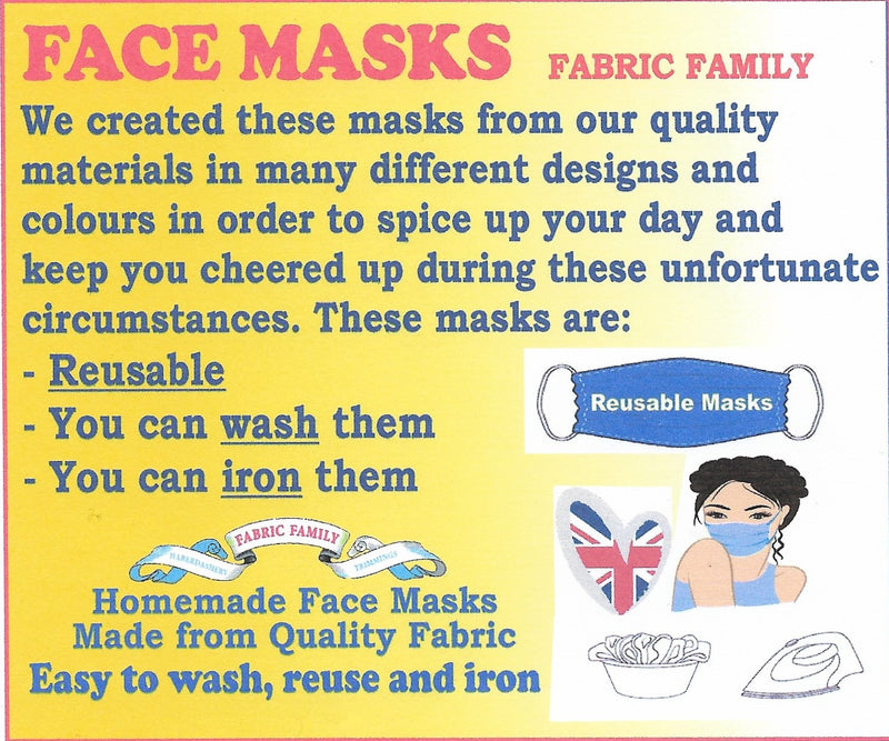 Daisy Print Face Mask | 100% Cotton | With Metal Nose Bridge | 1 Layer And 2 Layers