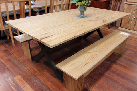 Edgewater Ash 1800 Dining Table + 2x Bench Seats
