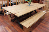 Edgewater Ash 2100 Dining Table + 2x Bench Seats