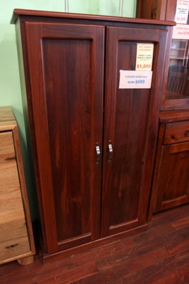 Jarrah 2 Door Display Cabinet (Timber Shelf)