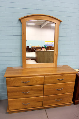 Santros Oak Low Chest & Mirror