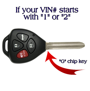 "Toyota Corolla Remote key (""G"" Chip Key/VIN# starts with 1 or 2) GQ429T-4B-G-VIN-1-2"