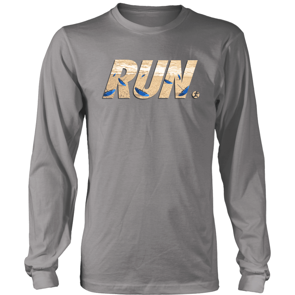 "A long sleeve tee shirt with the word ""RUN"" across the front. In letters is a man running away from flying beach umbrellas."