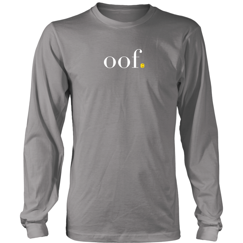 "A long sleeve tee shirt that says ""oof"" and has a roblox head instead of a period, paying tribute to the popular kids game."