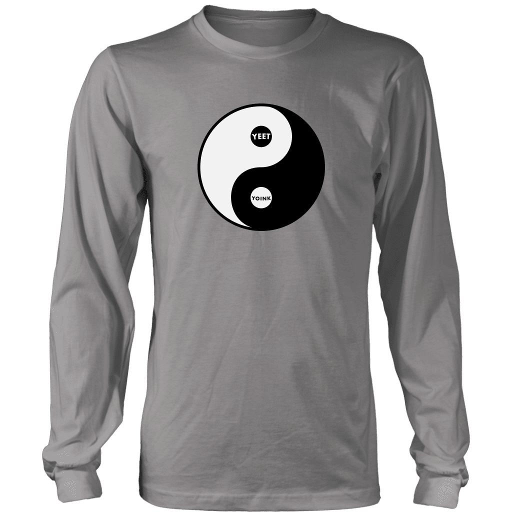 "A long sleeve tee shirt with the yin/yang symbol, but replaced with ""yeet"" and ""Yoink"""