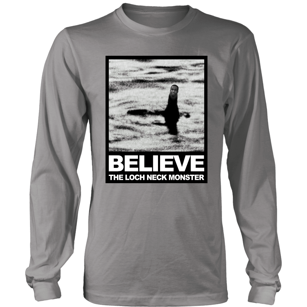 "A long sleeve tee shirt with a photo compilation of ""big neck guy"" charles dion mcdowell and the Loch Ness Monster."