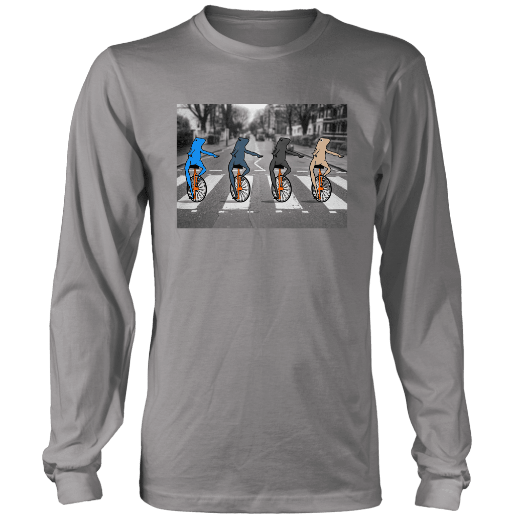 "Long sleeve tee featuring four multi-colored ""dat boi"" frogs crossing a road on their unicycles, parodying the beatles album."