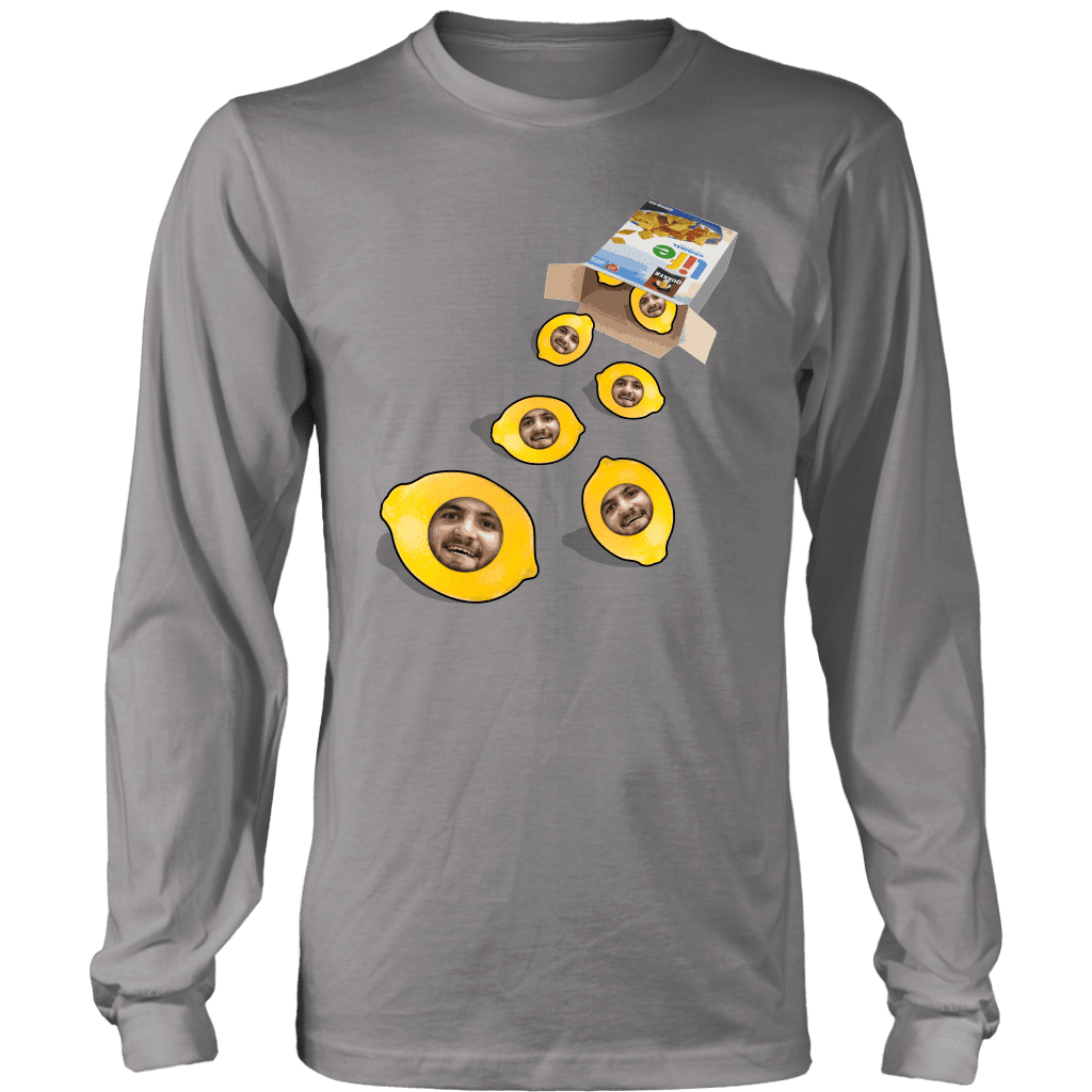 A long sleeve tee shirt with a box of life cereal tipped over, with lemons rolling out of it with a mans face on each of them.