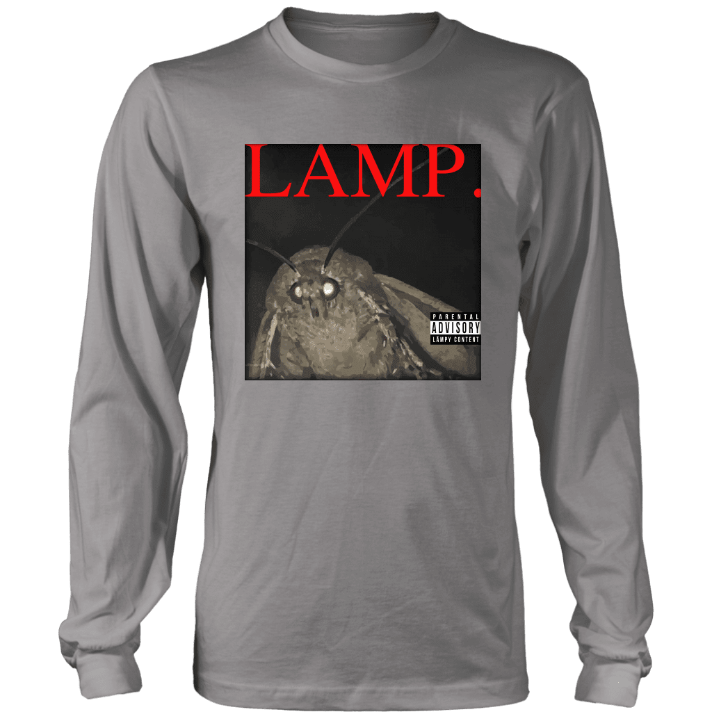 A long sleeve tee shirt with a picture of a moth and the word LAMP, parodying Kendrick Lamar's hit album DAMN.