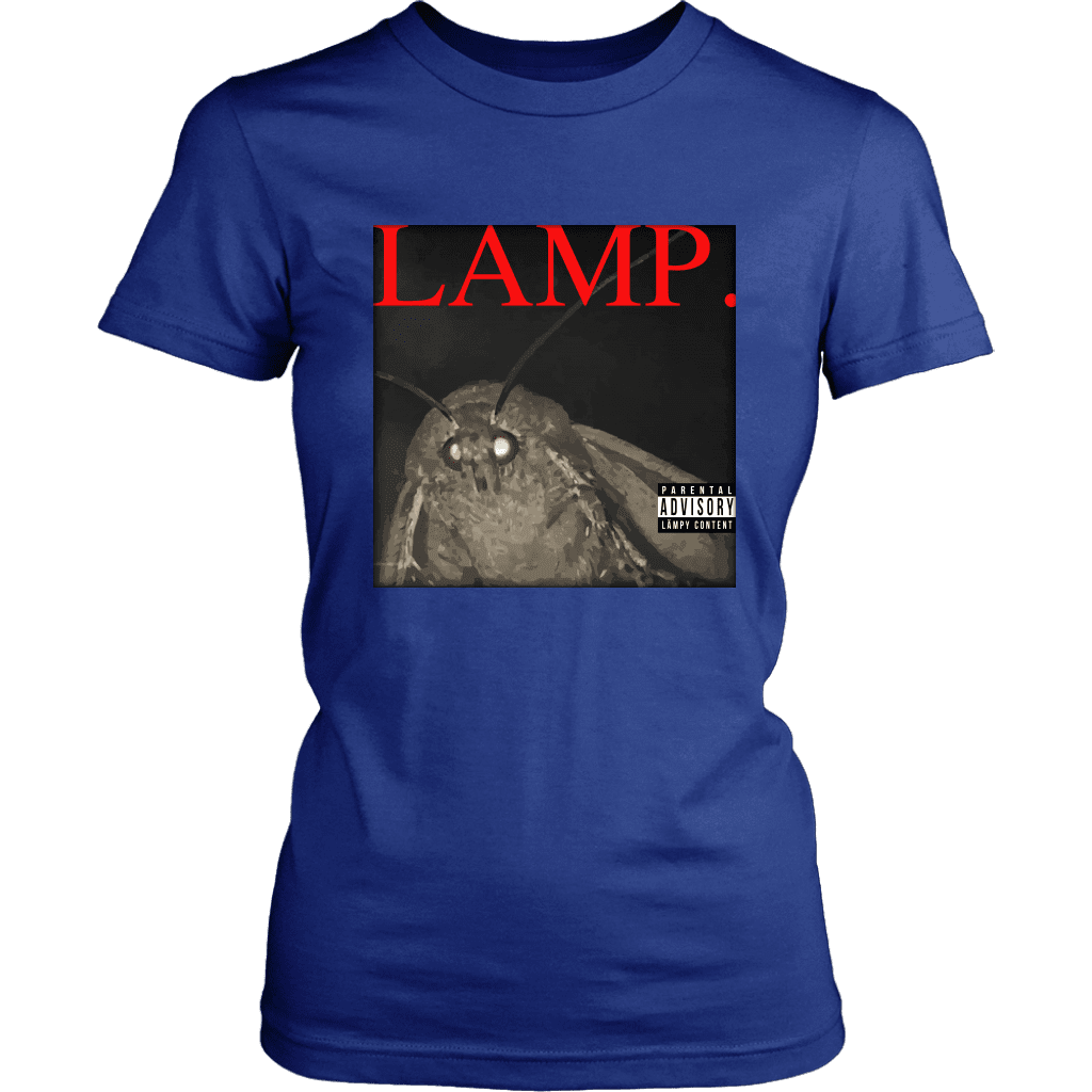 A women's tee shirt with a picture of a moth and the word LAMP, parodying Kendrick Lamar's hit album DAMN.