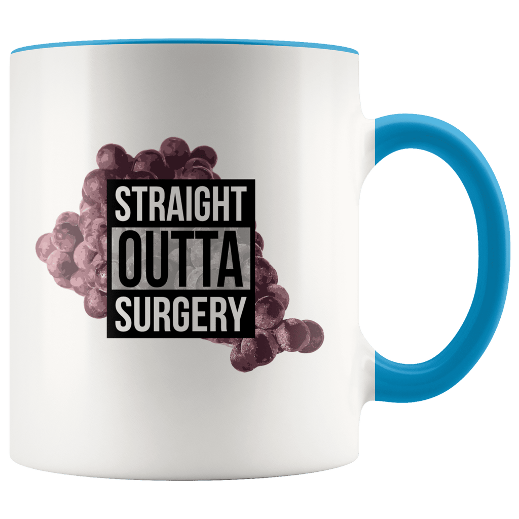 "A black beverage mug with a cluster of grapes and ""straight outta surgery"" in the style of ""straight outta compton"""
