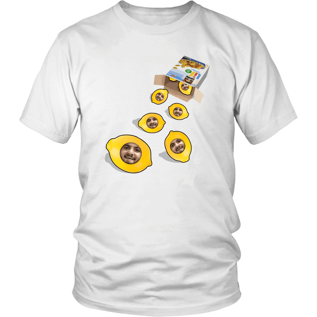 A unisex tee shirt with a box of life cereal tipped over, with lemons rolling out of it with a mans face on each of them.