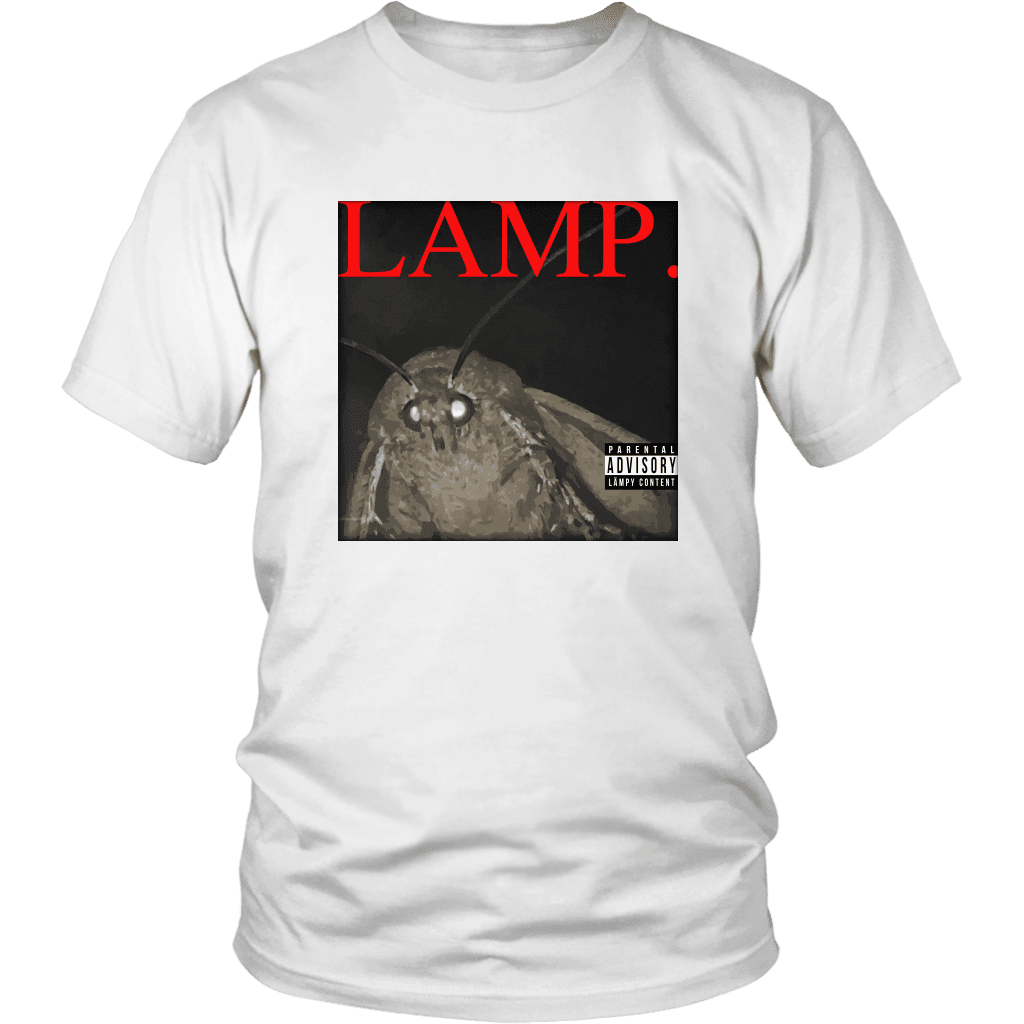 A unisex tee shirt with a picture of a moth and the word LAMP, parodying Kendrick Lamar's hit album DAMN.