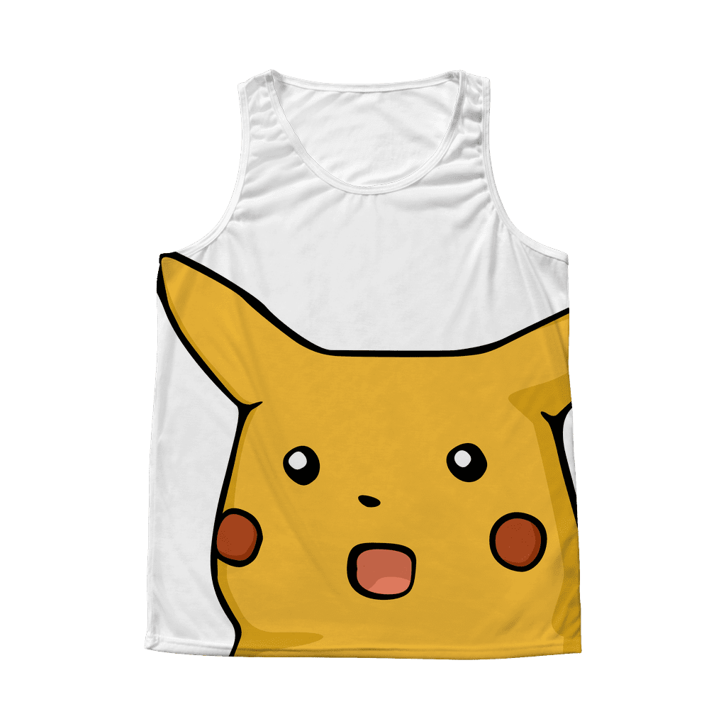 An all-over sublimated tank top with a very large surprised-looking Pikachu pokemon stretched across the front